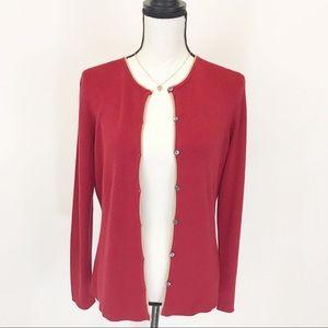 Ann Taylor 100% silk red cardigan L